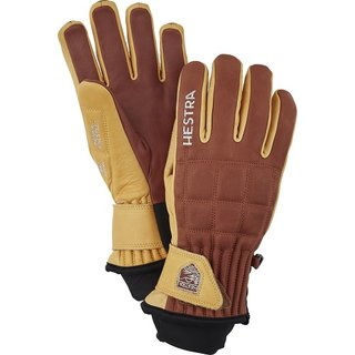 HESTRA HENRIK LEATHER PRO MODEL 5 FINGER BROWN/TAN