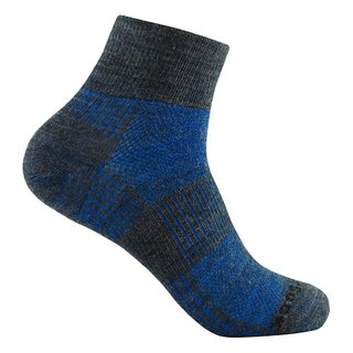 WRIGHT SOCKS MERINO COOLMESH II QUARTER GREY-BLUE