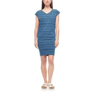 ICEBREAKER WOMAN  COOL-LITE? YANNI TEE DRESS COMBED LINES BLUE/SNOW