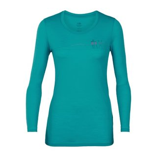 ICEBREAKER WOMENS TECH LITE LONG SLEEVE LOW CREWE SKIS IN SNOW ARCTIC TEAL