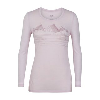 ICEBREAKER WOMENS TECH LITE LONG SLEEVE LOW CREWE APPROACH BLUSH HEATHER L