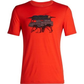 ICEBREAKER MENS TECH LITE SHORT SLEEVE CREWE ALPIN CREST CHILI RED