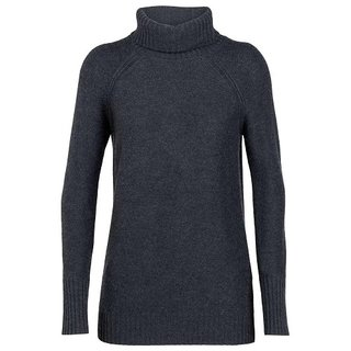 ICEBREAKER WOMENS WAYPOINT ROLL NECK SWEATER CHAR HEATHER