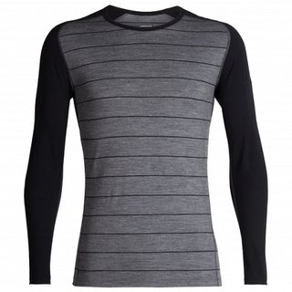 ICEBREAKER MENS 200 OASIS DELUXE RAGLAN LONG SLEEVE CREWE GRISTONE HEATHER/BLACK/STRIPE