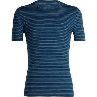 ICEBREAKER MENS ANATOMICA SS CREWE PRUSSIAN BLUE/GINGER/STRIPE
