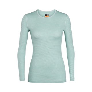 ICEBREAKER WOMENS 200 OASIS LONG SLEEVE CREWE DEW/ARCTIC TEAL/STRIPE