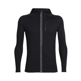 ICEBREAKER MENS QUANTUM LONG SLEEVE ZIP HOOD BLACK