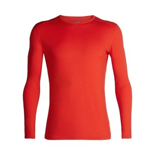 ICEBREAKER MENS 200 OASIS LONG SLEEVE CREWE CHILI RED