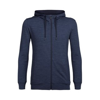 ICEBREAKER MENS SHIFTER LONG SLEEVE ZIP HOOD FATHOM HEATHER