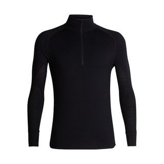 ICEBREAKER MENS 260 ZONE LONG SLEEVE HALF ZIP BLACK/CHILI RED
