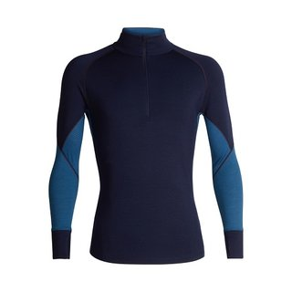 ICEBREAKER MENS 260 ZONE LONG SLEEVE HALF ZIP MIDNIGHT NAVY/PRUSSIAN BLUE