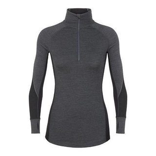 ICEBREAKER WOMENS 260 ZONE LONG SLEEVE HALF ZIP JET HEATHER/BLACK/SNOW