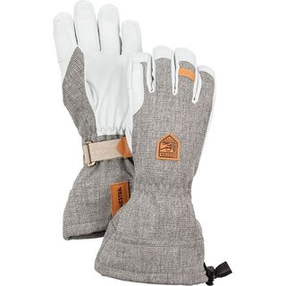 HESTRA ARMY LEATHER PATROL GAUNTLET 5 FINGER LIGHT GREY