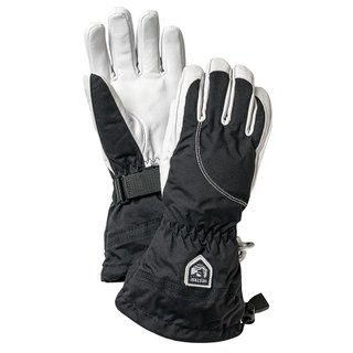 HESTRA LEATHER HELI SKI WOMAN 5 FINGER BLACK/OFFWHITE